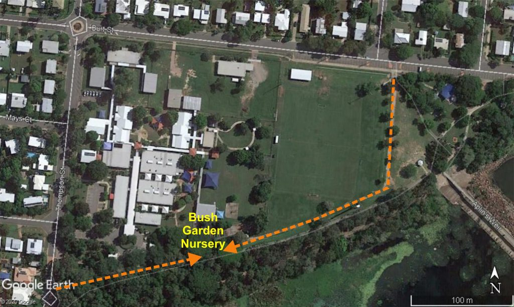 Aerial view showing access to Bush Garden Nursery